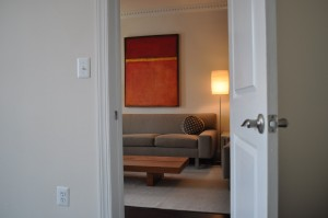 Look out into the living of Durant Manor Condos